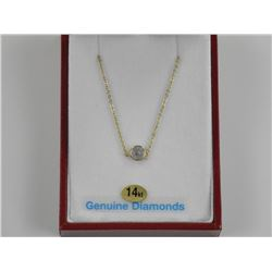 Ladies 14kt Gold Diamond Pendant and Chain. .58ct.