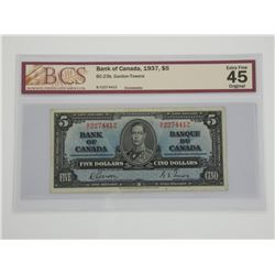 Bank of Canada 1937 $5. BCS Certified. EF45. (SME).