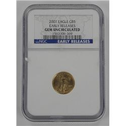 2007 Gold Eagle G$5. Early Releases. GEM UNC. NGC.
