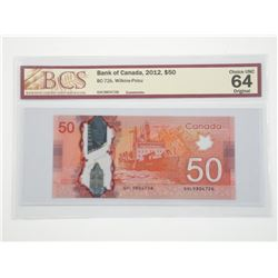 Bank of Canada 2012 - Fifty Dollar Note. BC-72b (W
