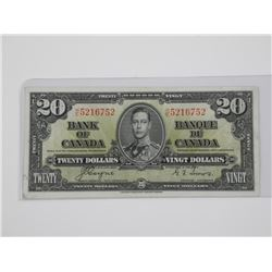 Bank of Canada 1937 - $20.00 C/T.