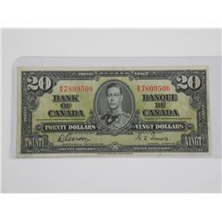 Bank of Canada 1937 - $20.00 G/T.