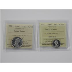(GE1200) Lot (2) 1966 10 and 25 Cent P.L./65 Cameo