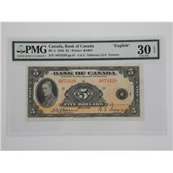 """Bank of Canada 1935 $5. """"English"""". PMG Certified"""