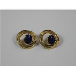 Estate Ladies 14kt Gold Earring w/ Cabochon Oval L