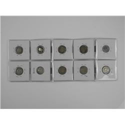 10x Canada 10 Cent - Mostly Silver