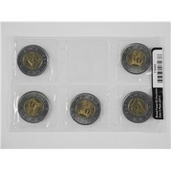 2011 Boreal Forest $2.00 Circulation Coin 5 Pack