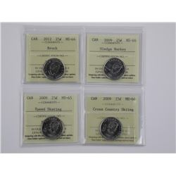 4x Canada 25 Cent Coins Special Issues ICCS. (SXR)