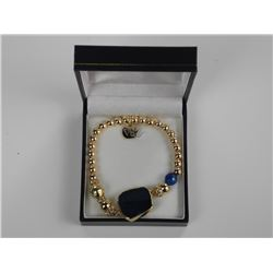 Gold Plated Bead Bracelet w/15.30ct Stones, Agate