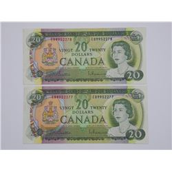 2x 1969 Bank of Canada - $20.00 in Sequence. (MC)