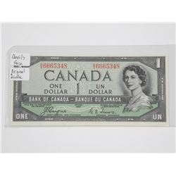 Bank of Canada 1954 One Dollar Note, Devil's Face.