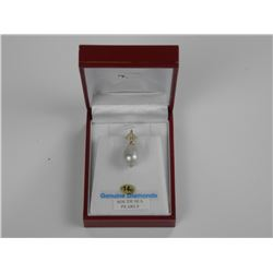 Ladies 4kt Gold - South Sea Pearl and Diamond Pend