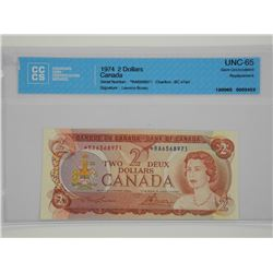 Bank of Canada 1974 - $2.00 GEM UNC 65 * Replaceme