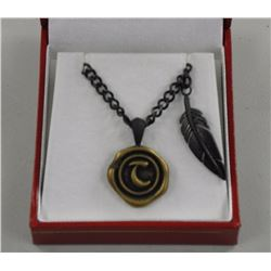 Gents Coin and Leave Designed Pendant and Chain 24