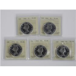 (GE1224) 5x Canada Silver Dollars PL/66 Cameo.