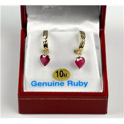 Ladies 10kt Gold and Genuine Ruby Earrings 1.60ct.