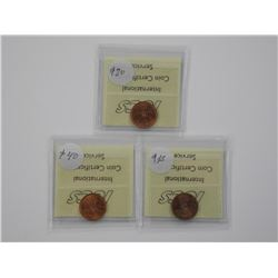 3x Canada One Cent Coins ICCS. (IE)