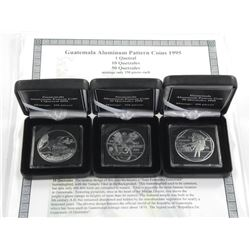 3x Guatemala Pattern Coins 1995, 1-10 and 50 Quetz