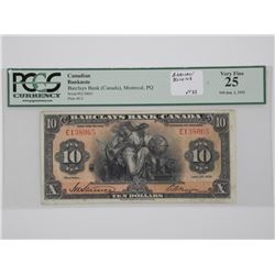 Barclays Bank (Canada) 1935 - $10.00 VF-25 PCGS. (