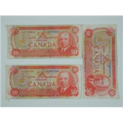 3x 1975 Bank of Canada Fifty Dollar Notes 'RCMP'