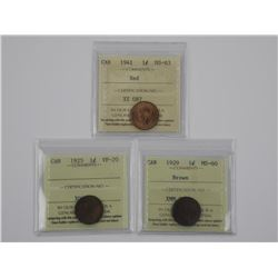 3x Canada One Cent Coin 1925, 1929, 1941, ICCS.. (
