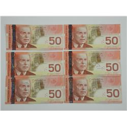 6x Bank of Canada 2004 Fifty Dollars.