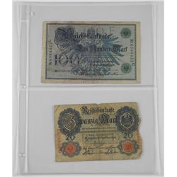 Lot of 2 German Notes