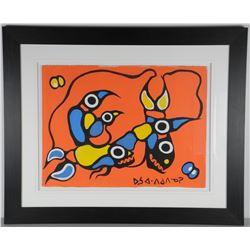 """Norval Morrisseau (1931-2007) Original Acrylic on Paper """"Loons and Fish""""."""