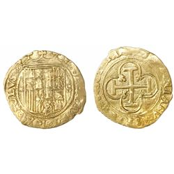 Seville, Spain, 1 escudo, Charles-Joanna, assayer * to left, mintmark S to right.