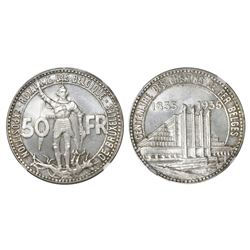 Brussels, Belgium, 50 francs, 1935, Brussels Exposition and Railway Centennial, coin alignment, NGC
