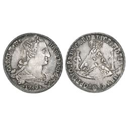Potosi, Bolivia, silver 8R-sized proclamation medal, Charles IV, 1789.