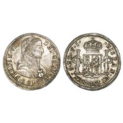 """Santiago, Chile, bust 2 reales, Ferdinand VII transitional (""""admiral"""" bust), 1810FJ."""