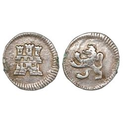 Bogota, Colombia, 1/4 real, Charles III, anepigraphic issue with pillar-dollar castle and lion (1760