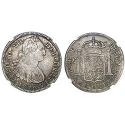Popayan, Colombia, bust 8 reales, Ferdinand VII (bust of Charles IV), 1816F, rare, NGC VF 30.