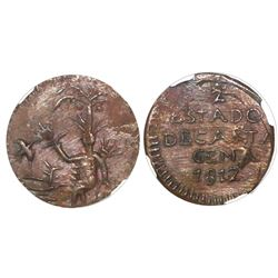 Cartagena, Colombia, copper 1/2 real, 1812, NGC MS 62 BN, finest known in NGC census.