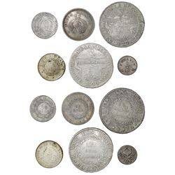 Lot of six Colombian minors: 2R, Bogota, 1844RS (two); 1R, Bogota, 1853; 1/2R, Popayan, 1839RU and 1