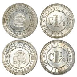 Lot of two Colombia (struck at the Heaton mint, Birmingham, England), copper-nickel 1-1/4 centavos,