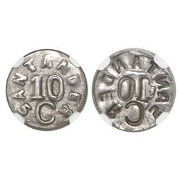 Colombia (Bucaramanga, Santander, necessity coinage), silver uniface 10 centavos, (1902), very rare,