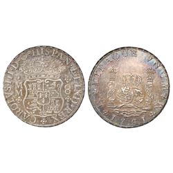 Mexico City, Mexico, pillar 8 reales, Charles III, 1761MM, cross below I (rare).