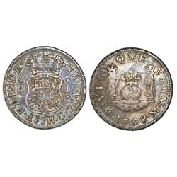 Mexico City, Mexico, pillar 1 real, Ferdinand VI, 1758/7M, dissimilar crowns, rare.