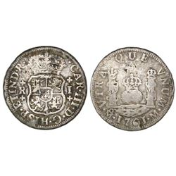 Mexico City, Mexico, pillar 1 real, Charles III, 1761M, plain crosses above and below R and I.