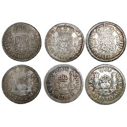 Lot of three Mexico City, Mexico, pillar 1R, Charles III, assayer M, dates as follows: 1762, 1765, 1