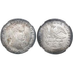 Mexico City, Mexico, 8 reales, 1822JM, Iturbide, long smooth truncation, 8R JM below eagle, NGC AU 5
