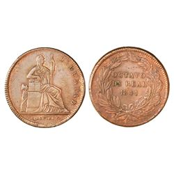 Mexico City, Mexico, copper 1/8 real, 1841, NGC MS 62 BN.