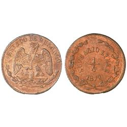 Durango, Mexico, copper 1/4 real, 1872, NGC MS 63 BN.