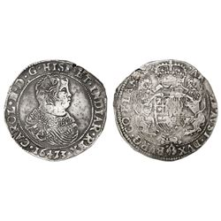 Flanders, Spanish Netherlands (Bruges mint), portrait ducatoon, Charles II, 1673.
