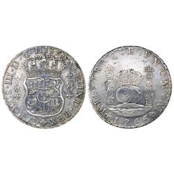 Lima, Peru, pillar 8 reales, Charles III, 1766/5JM, dots over both mintmarks, dot over erased floret