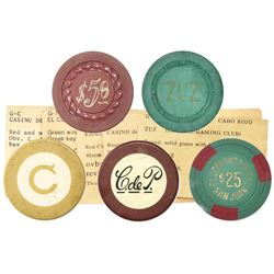 Lot of five Puerto Rican plastic casino chips, 1900s.