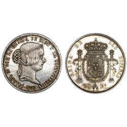 Spain, white metal pattern 20 reales, Isabel II, 1855, NGC MS 62.