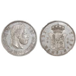 Spain (struck in Brussels, Belgium), silver pattern 5 pesetas, Charles VII Pretender, 1874, first de